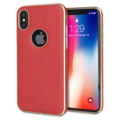 Olixar Makamae Leder-Style iPhone X Hülle - Rot