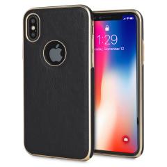 Olixar Makamae Leder-Style iPhone X Hülle - Schwarz