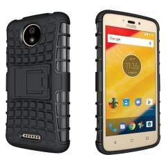 Protect your Motorola Moto C from bumps and scrapes with this black Olixar ArmourDillo case. Comprised of an inner TPU case and an outer impact-resistant exoskeleton, the ArmourDillo provides robust protection and supreme styling.