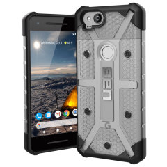 The Urban Armour Gear Plasma semi-transparent tough case in ice grey and black for the Google Pixel 2 features a protective case with a brushed metal UAG logo insert for an amazing rugged and stylish design.
