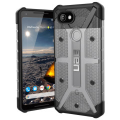 The Urban Armour Gear Plasma semi-transparent tough case in ice grey and black for the Google Pixel 2 XL features a protective case with a brushed metal UAG logo insert for an amazing rugged and stylish design.