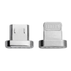 This part is a replacement bundle of Lightning and microUSB magnetic USB connector tips for 4smarts GRAVITYcord USB charge & sync cable. Twin pack (Lightning + microUSB).