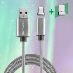 Ce câble USB tressé est très résistant et dispose d'embouts magnétiques interchangeables. Vous aurez donc 1 embout Micro USB et 1 embout USB-C que vous pourrez échanger en un rien de temps. Utilisez le même câble pour des appareils disposant de ports différents !