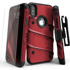 Equip your Apple iPhone X with military grade protection and superb functionality with the ultra-rugged Bolt case in red / black from Zizo. Coming complete with a handy belt clip and integrated kickstand.