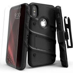 Équipez votre iPhone X avec une coque de protection de qualité militaire et dotée de superbes fonctionnalités grâce à une finition ultra robuste. Cette coque est fournie avec une protection d'écran en verre trempé, un clip ceinture et un support avec béquille intégré. Un tout en un tout simplement impressionnant.