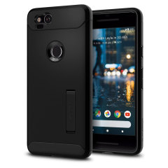 The Slim Armor case for the Google Pixel 2 in black has shock absorbing technology specifically incorporated to protect the device from impacts from any angle.