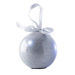 Recordable Message Christmas LED Glitter Bauble - Silver
