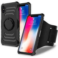 This stylish black heavy duty iPhone X case from Olixar provides a perfect fit and is perfect for fitness with its fully adjustable sports armband. The built-in plate also means you can switch between magnetic holders in your car or at your desk.
