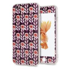 LoveCases Blumenkunst iPhone 6S / 6 Hülle -  Kastanienbraun