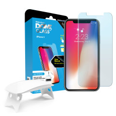 The Dome Glass screen protector for iPhone X from Whitestone uses a proprietary UV adhesive installation to ensure a total and perfect fit for your device. Also featuring 9H hardness for absolute protection, as well as 100% touch sensitivity retention.