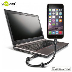 Goobay MFi Lightning Gooseneck Charge and Sync Cable & Stand - Black