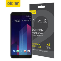 Keep your HTC U11 Plus screen in pristine condition with this Olixar scratch-resistant screen protector 2-in-1 pack.