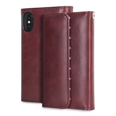 iPhone X Tri-Fold Leather-Style Purse Wallet Case - Polka Dot Red