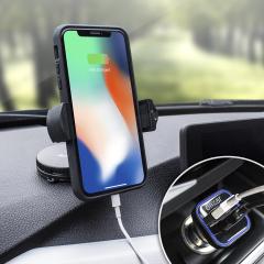 Das Pack enthält wesentliche Elemente, die Sie für Ihr Handy während einer Autofahrt benötigen. Ausgestattet mit einem robusten Autohalterung und einem Autoladegerät mit zusätzlichen USB-Port für Ihr Apple iPhone X.