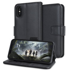 This stylish, black genuine leather case for iPhone X enhances the aesthetic of your already-gorgeous device. A wallet-type structure houses 4 card slots for debit or credit cards, cash, ID and more, while a soft inner frame holds your phone tight.