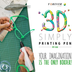 Create stunning pieces of 3D art with the Forever 3D Printing Pen that is lightweight and easy to handle for even the most intricate of designs. With three filaments provided (green, red and blue), you can start with your artistic aspirations right away.