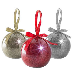 Recordable Message Christmas LED Glitter Baubles - Multicolour 3 Pack