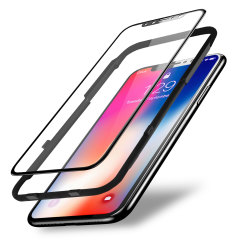 This 2 pack of ultra-thin full cover curved tempered glass screen protectors for the iPhone X from Olixar offers superior toughness, visibility and sensitivity. Also comes complete with an installation tray for a quick, simple application.