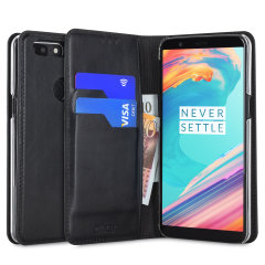 A premium slimline black genuine leather case. The Olixar genuine leather executive wallet case offers perfect protection for your OnePlus 5T, as well as featuring a smart magnetic media stand and slots for your cards, cash and documents.
