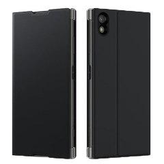 Esta funda plegable de alta calidad de Sony alberga su teléfono inteligente Xperia XA1 Plus, que brinda protección y acceso a sus puertos y características al tiempo que incorpora un soporte de visualización integrado en color plateado.
