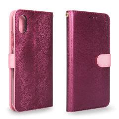 Hansmare Calf iPhone X Wallet Case - Wine Pink
