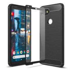 Flexible rugged casing with a premium matte finish non-slip carbon fibre and brushed metal design, the Olixar Sentinel case in black keeps your Google Pixel 2 XL protected from 360 degrees with the added bonus of a tempered glass screen protector.