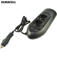 Charge USB and AC mains devices in your car with Duracell's ingenious DC to AC in-car power inverter. This sleek, lightweight adapter offers fast charging for virtually any device through its dual 2.4A USB ports and twin mains sockets. EU mains version.