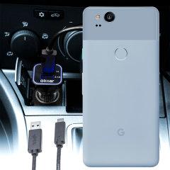 Gardez votre Google Pixel 2 chargé au maximum lors de vos déplacements grâce à ce Chargeur Voiture haute puissance 2 ports USB d'une puissance de 3.1A de chez Olixar. Câble USB-C de chargement de grande qualité inclus.