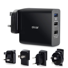 Featuring Qualcomm Quick Charge 3.0 for rapid charging of your smartphone, tablet or laptop. With 2 additional universal fast charging USB ports and travel adapters for charging at home and around the world.