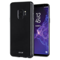 Custom moulded for the Samsung Galaxy S9, this solid black FlexiShield case by Olixar provides slim fitting and durable protection against damage.