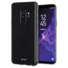 Custom moulded for the Samsung Galaxy S9 Plus, this solid black FlexiShield case by Olixar provides slim fitting and durable protection against damage.