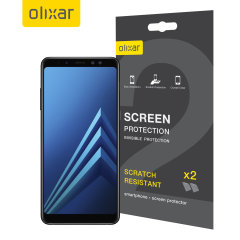 Keep your Samsung Galaxy A8 2018's screen in pristine condition with this Olixar scratch-resistant screen protector 2-in-1 pack.