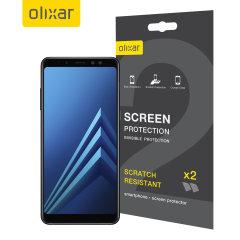 Hold din Samsung Galaxy A8 2018 skjerm i perfekt stand med denne Olixar ripebestandige skjermbeskytter 2-i-1 pakken.