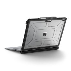 The Urban Armour Gear Plasma semi-transparent tough case in ice grey and black for the Microsoft Surface Book features a protective case with a brushed metal UAG logo insert for an amazing rugged and stylish design.