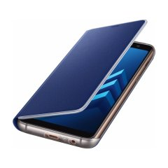 Protect your Samsung Galaxy A8 2018's back, sides and screen from harm with the official blue neon flip cover from Samsung. Featuring neon edge lighting to keep you informed of notifications, incoming calls and more.