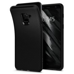 The Spigen Liquid Air in black is a TPU lightweight protective case. Spigen's flexible and elastic material reduces the thickness of the case while providing shock absorption and a comfortable grip for your Samsung Galaxy A8 2018.