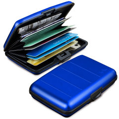 Meet Acardion. Built like a tank yet small and lightweight, with card slots and space for all your cash and RFID protection to help stop wireless card fraud, this is a perfect travel or everyday solution for carrying all your valuables securely. Blue.
