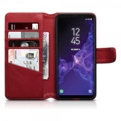Samsung Galaxy S9 Genuine Leather Wallet Case - Red