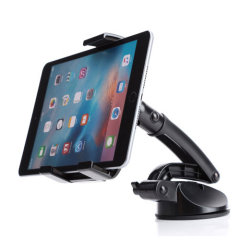 The ExoMount Tablet Ultra car holder is designed to allow you to position your 4.2 to 10.5 inch tablet in either landscape or portrait modes on your dashboard without blocking your view of the road.