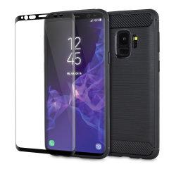 Das robuste Olixar Sentinel-Gehäuse in Schwarz schützt Ihr Samsung Galaxy S9 durch ein robustes Gehäuse aus hochwertigem matten, rutschfesten Kohlefaser- und gebürstetem Metallgehäuse und bietet einen zusätzlichen Schutz aus gehärtetem Glas