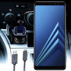 Laden Sie Ihr Micro-USB-Gerät unterwegs auf, mit diesem Hochleistungs 2.4A Samsung Galaxy A8 2018 Kfz-Ladegerät mit ausziehbarem Spiralkabel-Design