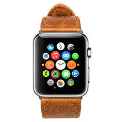 Jison 42mm Genuine Leather Apple Watchband - Vintage Brown