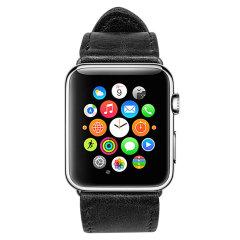 Jison 42mm Genuine Leather Apple Watchband - Black