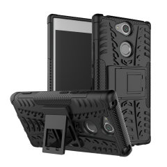 Protect your Sony Xperia XA2 from bumps and scrapes with this black ArmourDillo case. Comprised of an inner TPU case and an outer impact-resistant exoskeleton, with a built-in viewing stand.
