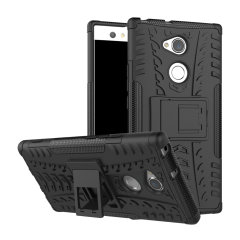 Protect your Sony Xperia XA2 Ultra from bumps and scrapes with this black ArmourDillo case. Comprised of an inner TPU case and an outer impact-resistant exoskeleton, with a built-in viewing stand.