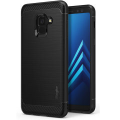 Rearth Onyx Heavy Duty Hülle für das Samsung Galaxy A8 Plus 2018 bietet schlanken und gleichzeitig robusten Schutz. Zwei verschiedene Materialien bieten elegantes Design und Funktionalität.