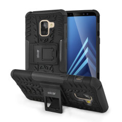 Protect your Samsung Galaxy A8 from bumps and scrapes with this black ArmourDillo case from Olixar. Comprised of an inner TPU case and an outer impact-resistant exoskeleton, with a built-in viewing stand.