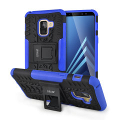 Protect your Samsung Galaxy A8 from bumps and scrapes with this black and blue ArmourDillo case from Olixar. Comprised of an inner TPU case and an outer impact-resistant exoskeleton, with a built-in viewing stand.