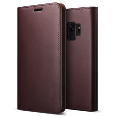 VRS Design Genuine Leather Diary Samsung Galaxy S9 Wallet Case - Wine