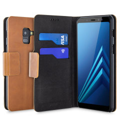 Protect your Samsung Galaxy A8 with this durable and stylish tan leather-style wallet case by Olixar. What's more, this case transforms into a handy stand to view media.